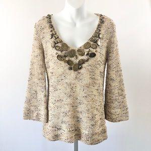 BCBGMAXAZRIA Antique Medallion Scoop Neck Sweater